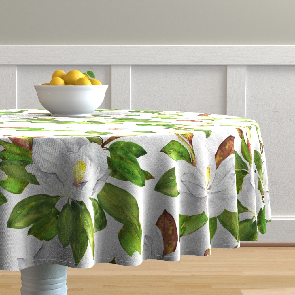 Malay Round Tablecloth featuring Magnolia Flowers, Bright White, Large Floral Print by dixiemoon