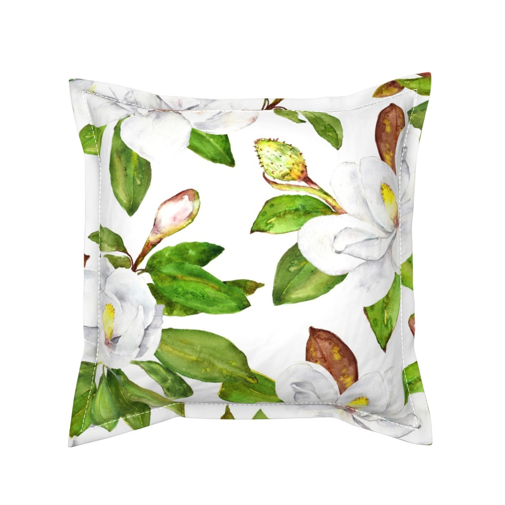 Serama Throw Pillow featuring Magnolia Flowers, Bright White, Large Floral Print by dixiemoon