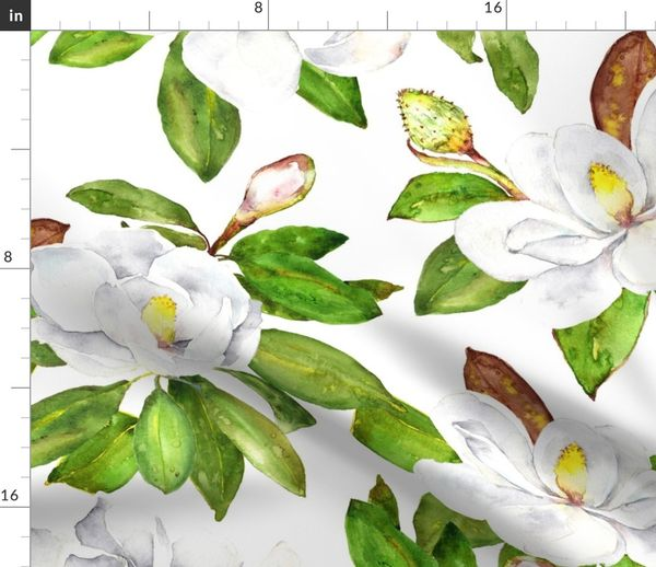 Magnolia Flowers Bright White Large Fl Spoonflower