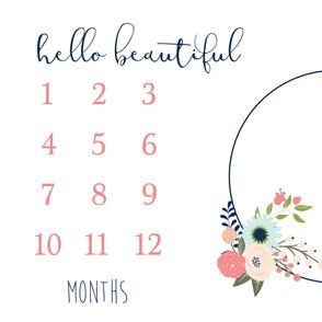 Hello Beautiful Floral Monthly Milestone 1 Yard Blanket Photo Prop