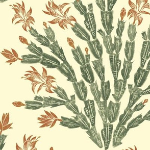 antique red and green Christmas cactus damask