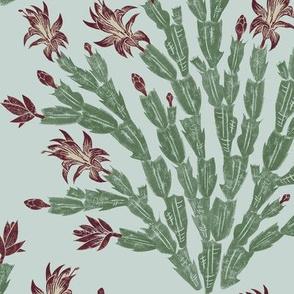 Christmas cactus - burgundy and grey-green damask