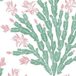 pastel Easter cactus damask