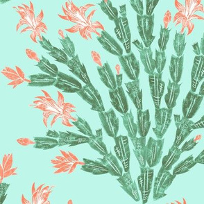 tropical cactus damask - coral and surf green