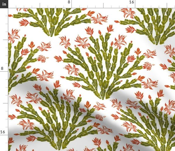 Christmas Cactus.Fabric By The Yard Autumn Christmas Cactus Damask