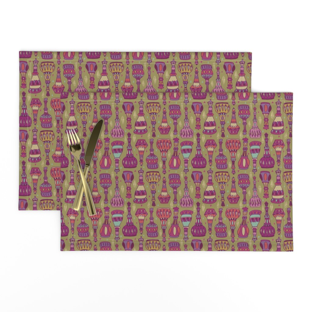 Lamona Cloth Placemats featuring Magic Bottles by leiah