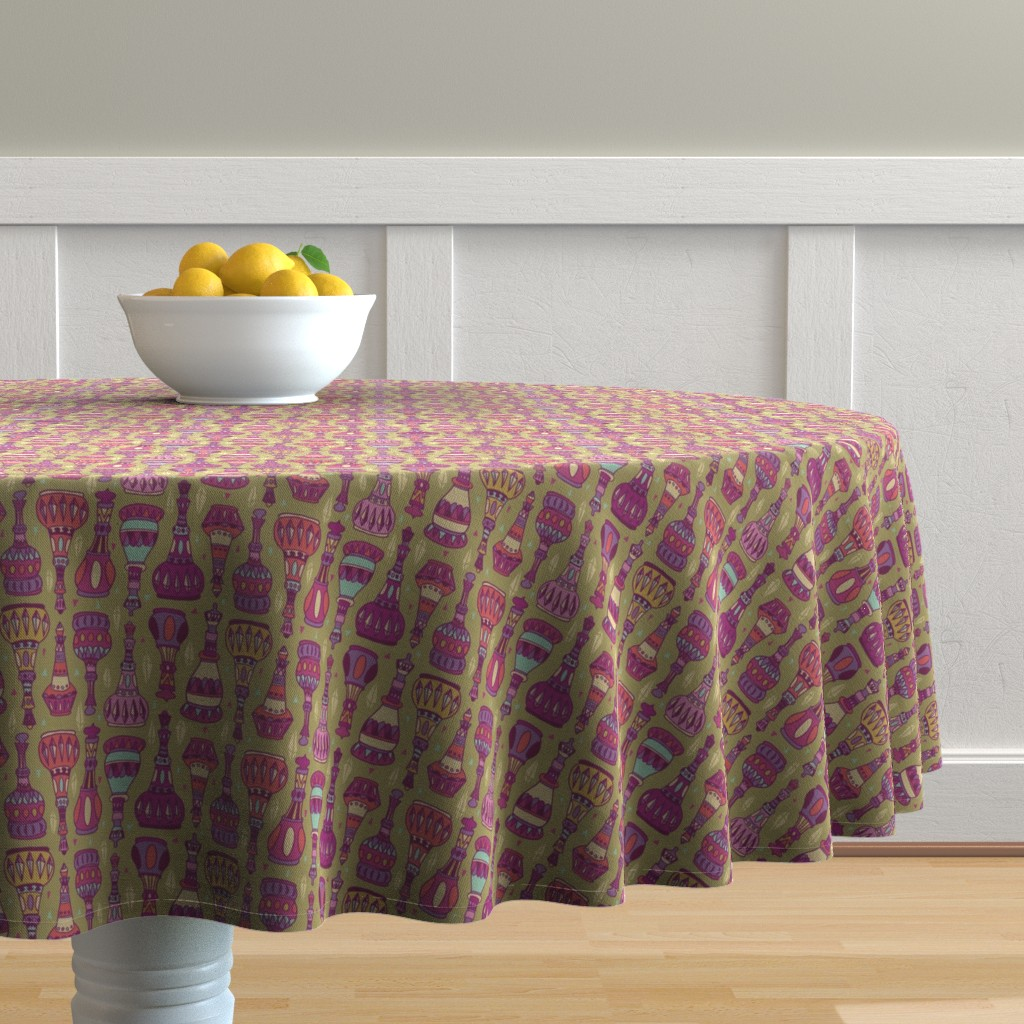 Malay Round Tablecloth featuring Magic Bottles by leiah