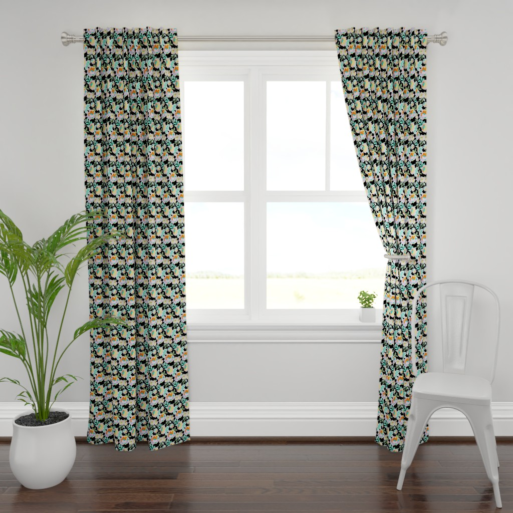 Plymouth Curtain Panel featuring Rainbow Roses black background by melanie_hodge