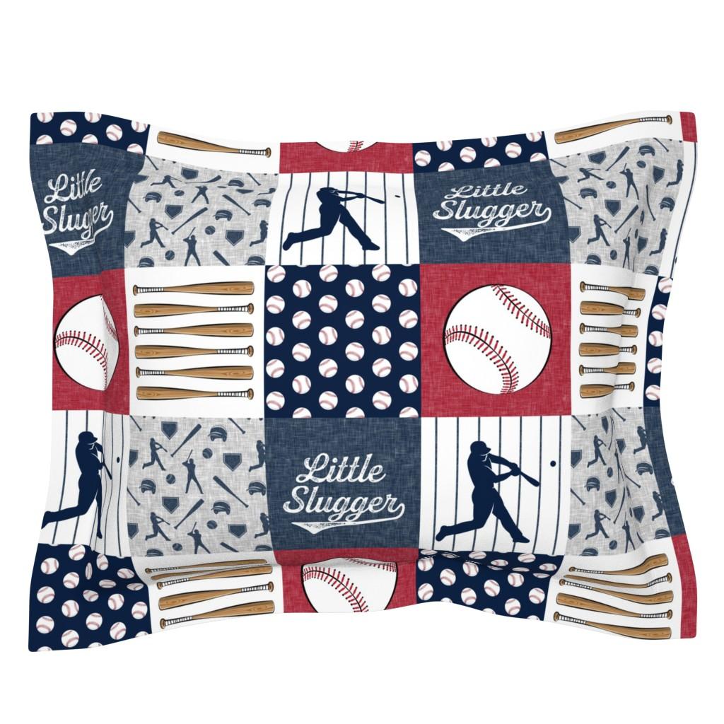 Sebright Pillow Sham featuring Little Slugger Baseball Patchwork fabric - red blue pin stripes by littlearrowdesign