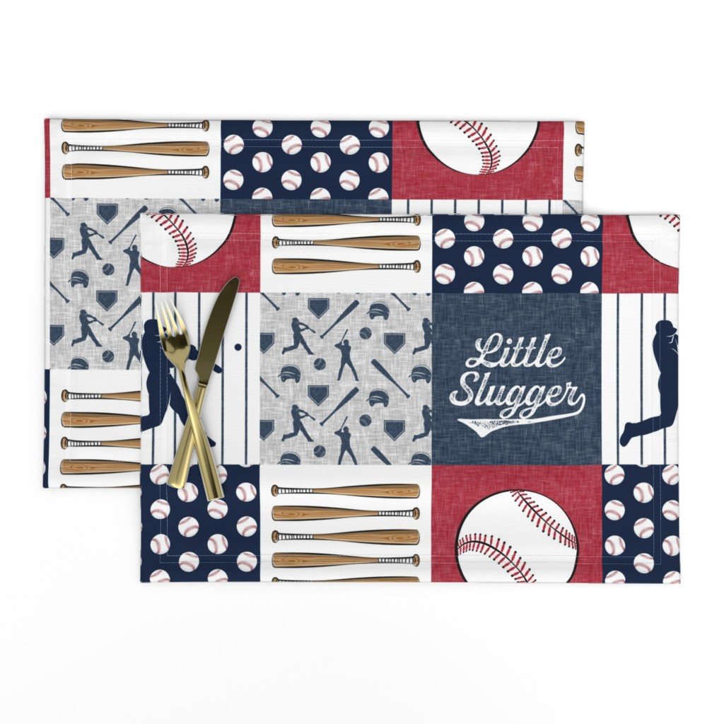 Lamona Cloth Placemats featuring Little Slugger Baseball Patchwork fabric - red blue pin stripes by littlearrowdesign
