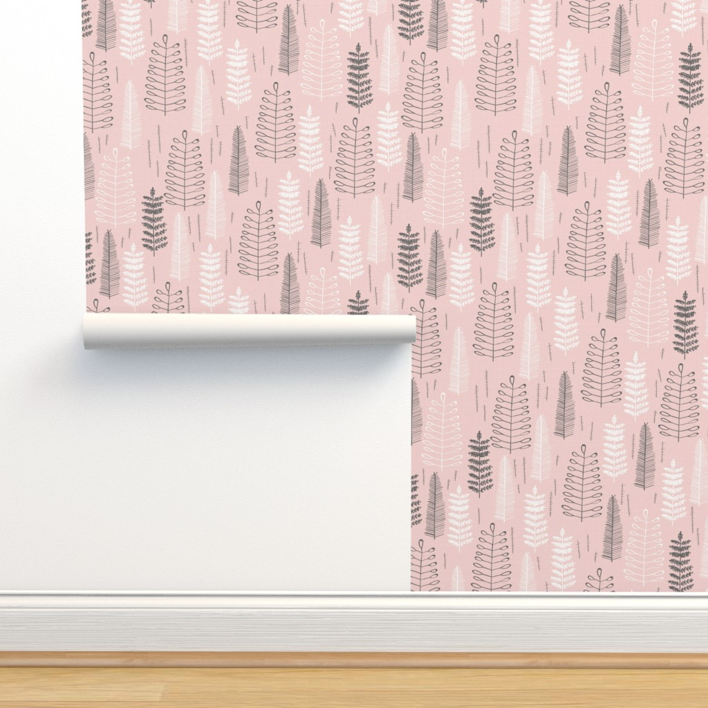 Isobar Durable Wallpaper featuring Pink Ferns - Large Scale by papercanoefabricshop