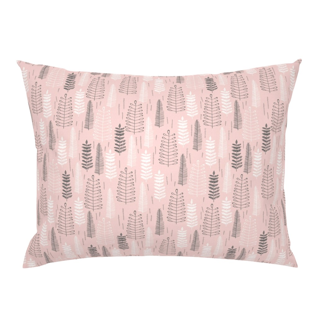 Campine Pillow Sham featuring Ferns - Small Scale by papercanoefabricshop