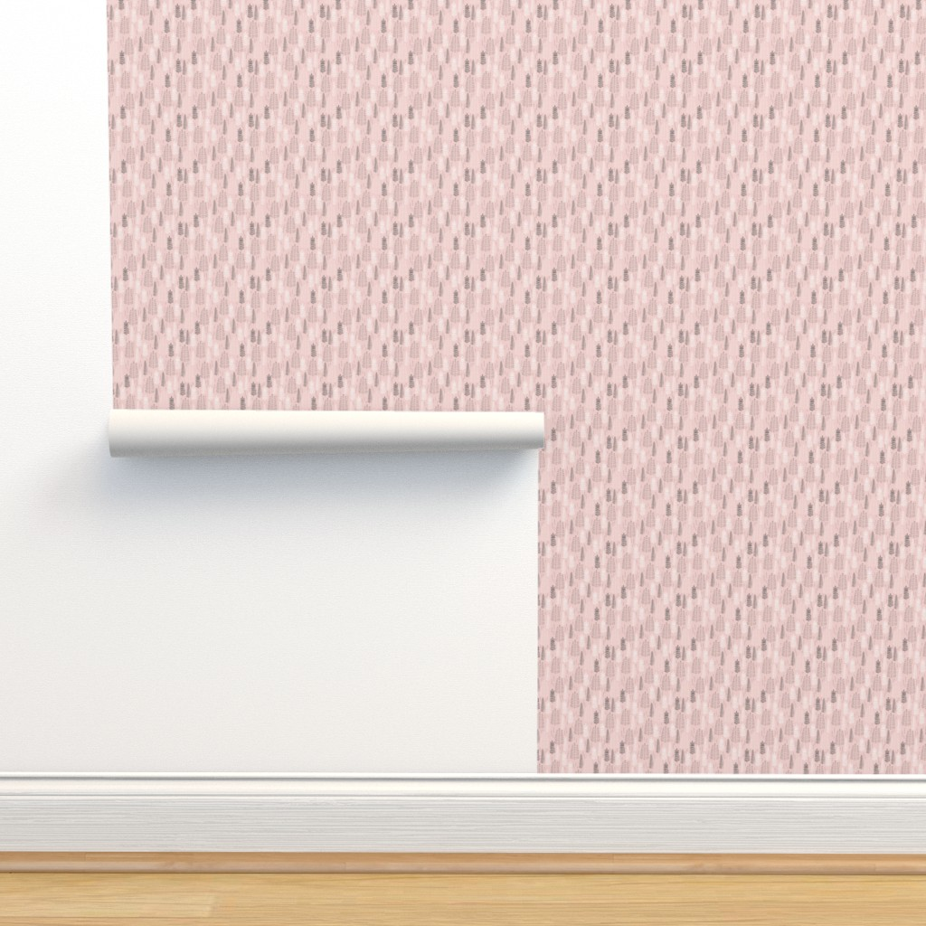 Isobar Durable Wallpaper featuring Pink Ferns - Extra Small Scale by papercanoefabricshop