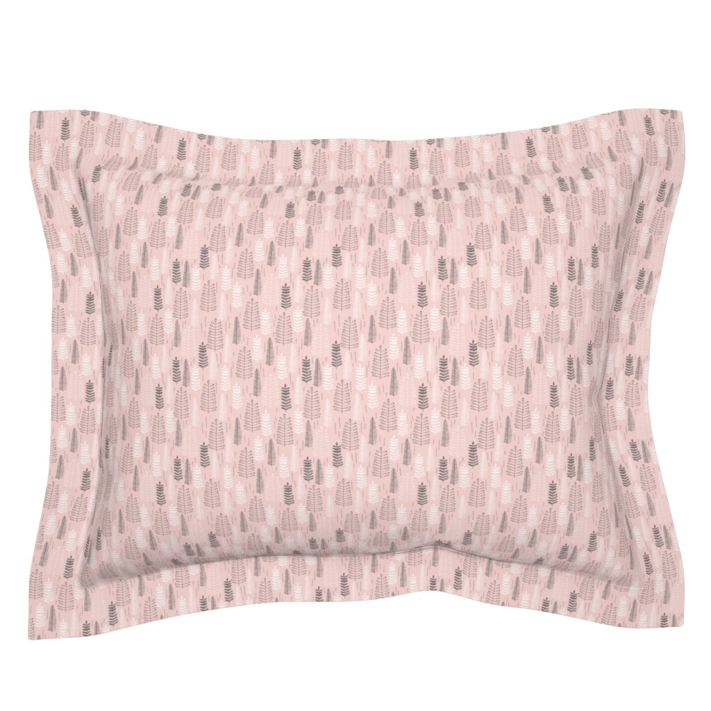 Sebright Pillow Sham featuring Pink Ferns - Extra Small Scale by papercanoefabricshop