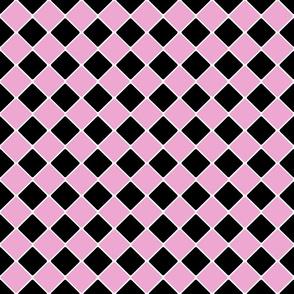Vintage 1950's Pink and Black Diagonal Tiles