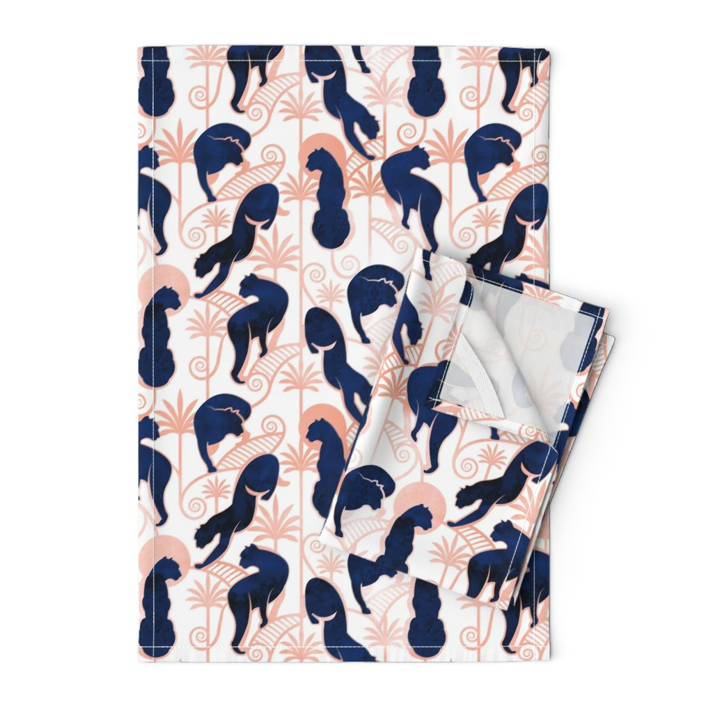 Orpington Tea Towels featuring Deco Panthers Garden // normal scale // white background navy and metal rose big cats by selmacardoso