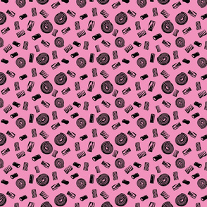 Black Licorice Candy- pink background