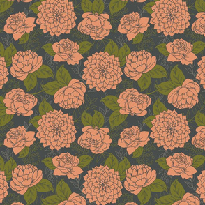 Coral Flowers and Grey Large Floral Pattern