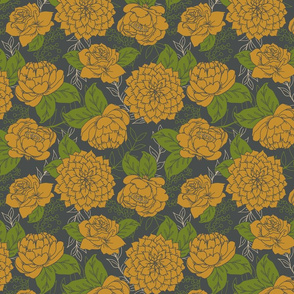 Goldenrod Flowers and Grey Floral