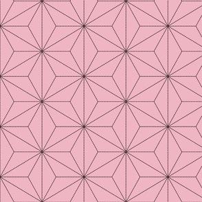 Demon-Slaying Nezuko Asa-no-Ha Pattern Dashed Sashiko Lines on Pink