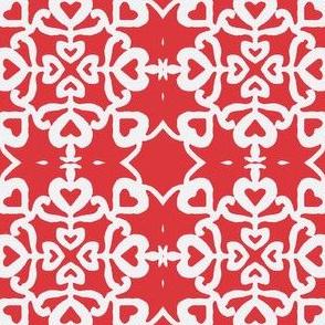 Peacocks lovely red-white tiles small