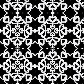Peacocks lovely black-white tiles small