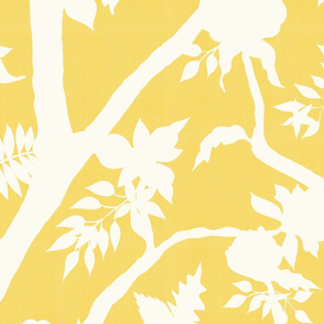 Silhouette Peony Branch- yellow