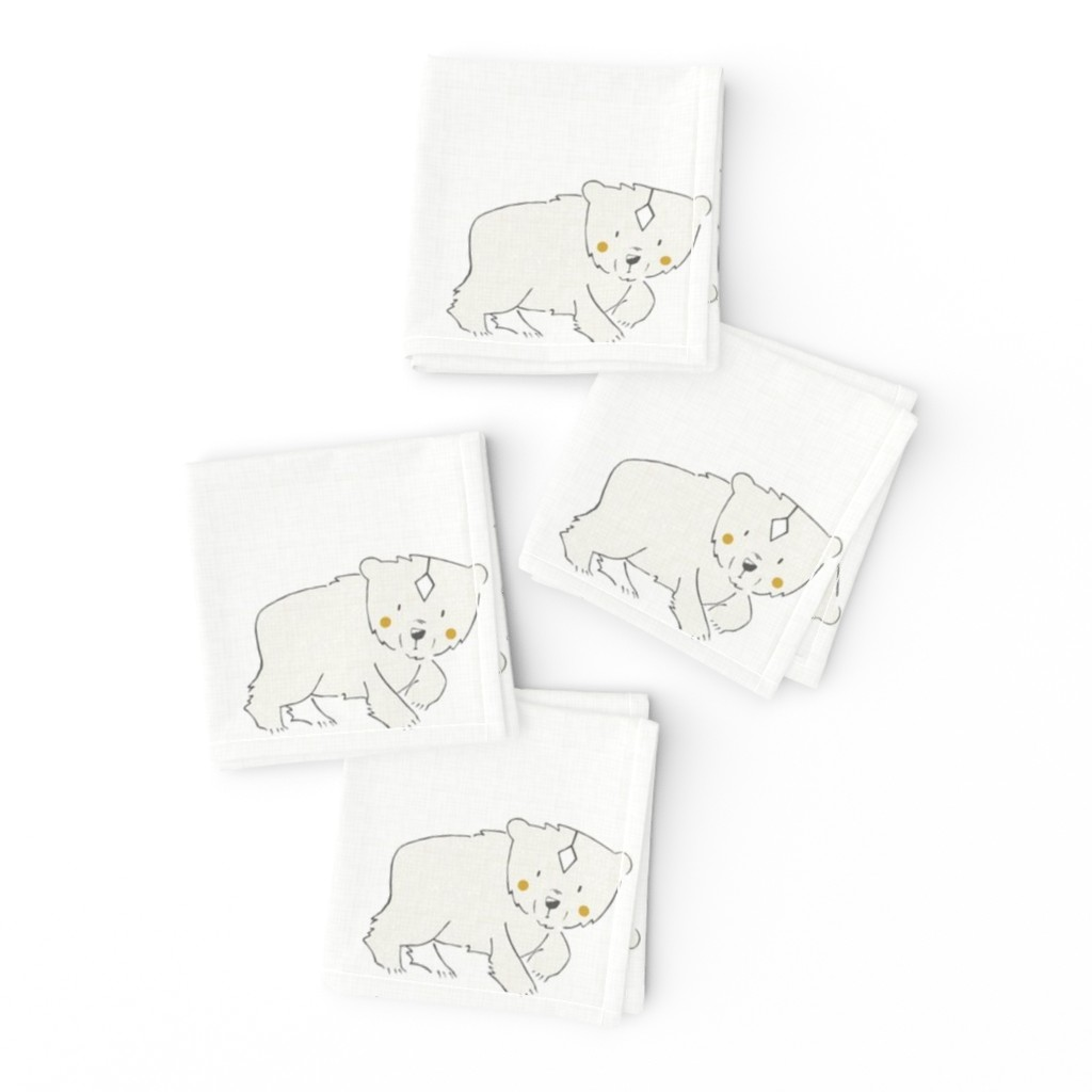Frizzle Cocktail Napkins featuring Bear - 6 in Quilt by papercanoefabricshop