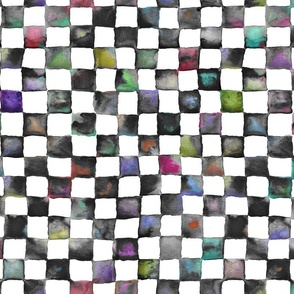 "watercolor checkerboard 1"" squares - black, white and multicolor"