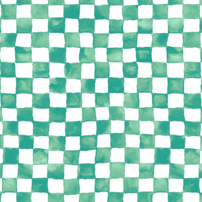 "watercolor checkerboard 1"" squares - teal, surf green and pale aqua"