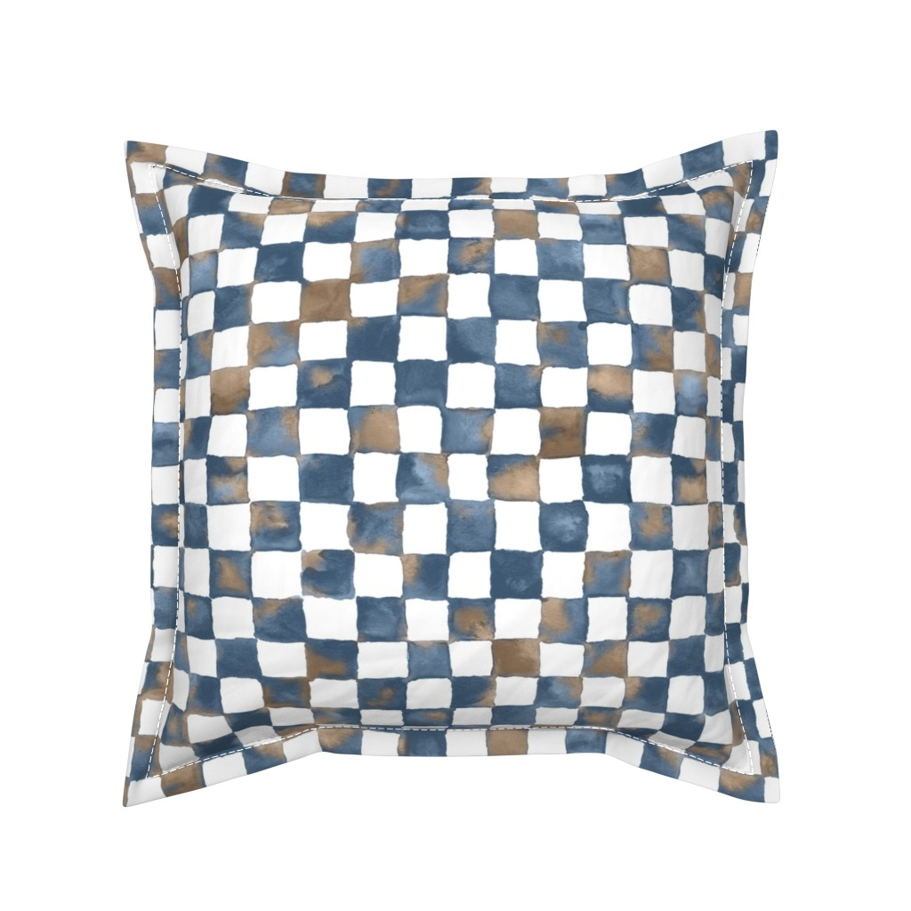 """Serama Throw Pillow featuring watercolor checkerboard 1"""" squares - denim blue, mocha and white  by weavingmajor"""