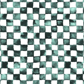 "watercolor checkerboard 1"" squares - black, mint, white"