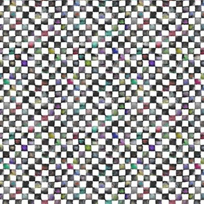 "tiny watercolor checkerboard, 1/4"" squares - black, white, colorful"