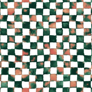 succulent watercolor checkerboard - green and coral