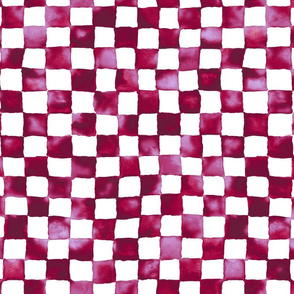 watercolor checkerboard - cranberry, lilac and white