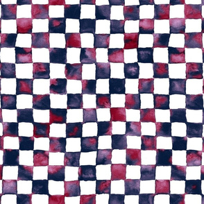 watercolor checkerboard - navy, burgundy and orchid