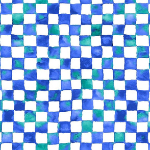 watercolor checkerboard - cobalt blue, teal and white