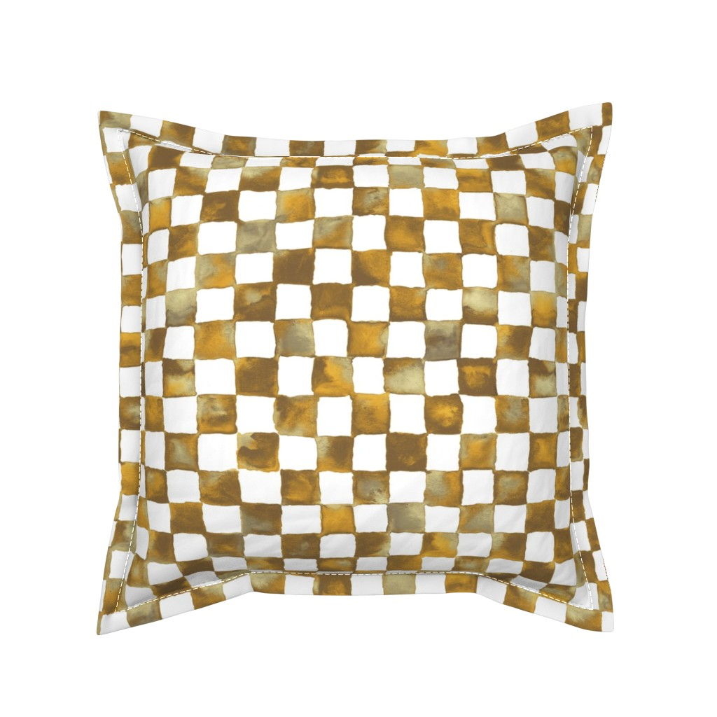 Serama Throw Pillow featuring watercolor checkerboard - brown, gold, tan and white by weavingmajor