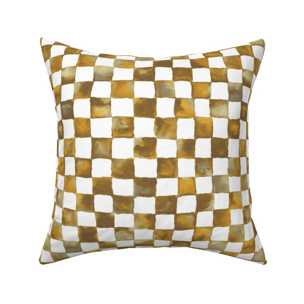 Catalan Throw Pillow featuring watercolor checkerboard - brown, gold, tan and white by weavingmajor