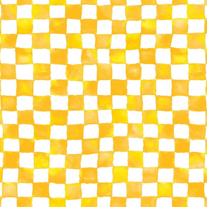 watercolor checkerboard - gold, yellow and white