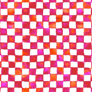 watercolor checkerboard - red, orange, hot pink and white
