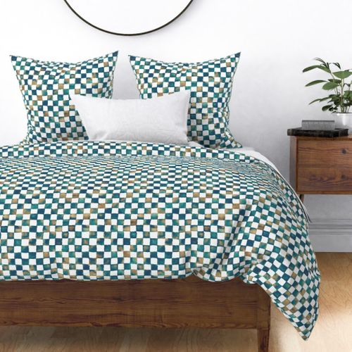 Fabric by the Yard watercolor checkerboard - navy, teal, brown and white