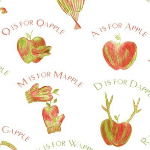 A is for Apple  (a silly apple alphabet) on white