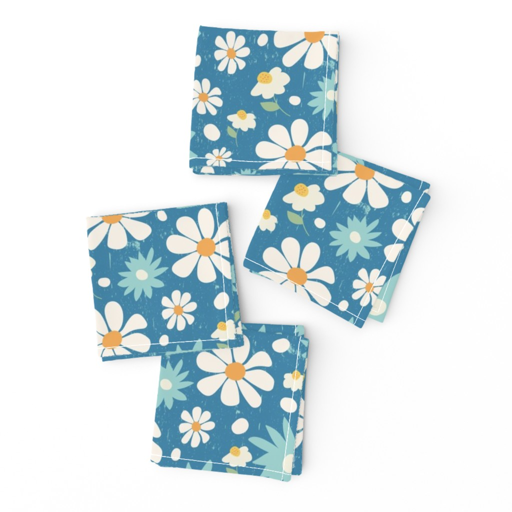 Frizzle Cocktail Napkins featuring Golden Daisy Spring Teal Floral Garden Blast by studiojulieann