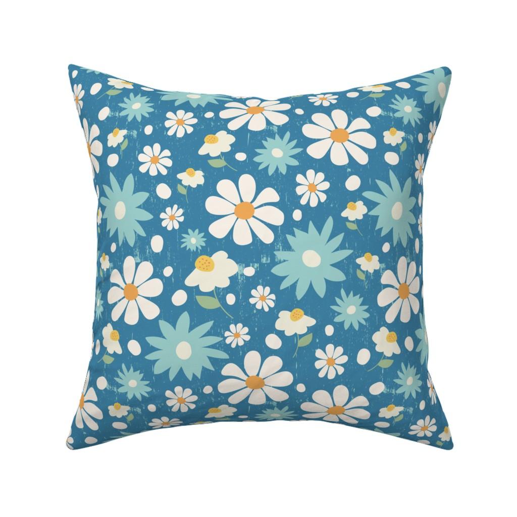 Catalan Throw Pillow featuring Golden Daisy Spring Teal Floral Garden Blast by studiojulieann