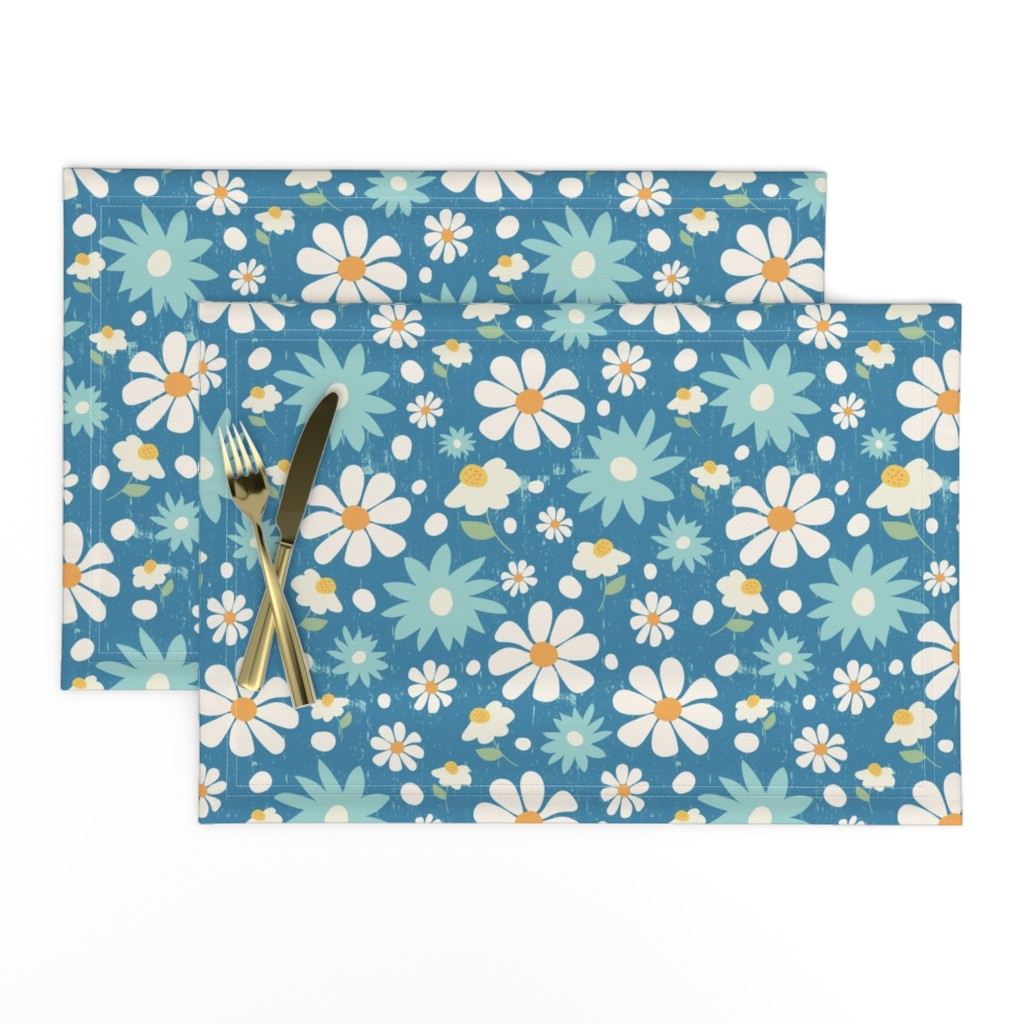 Lamona Cloth Placemats featuring Golden Daisy Spring Teal Floral Garden Blast by studiojulieann