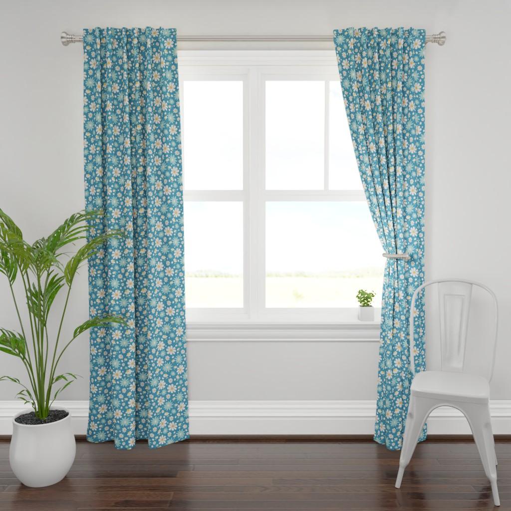 Plymouth Curtain Panel featuring Golden Daisy Spring Teal Floral Garden Blast by studiojulieann