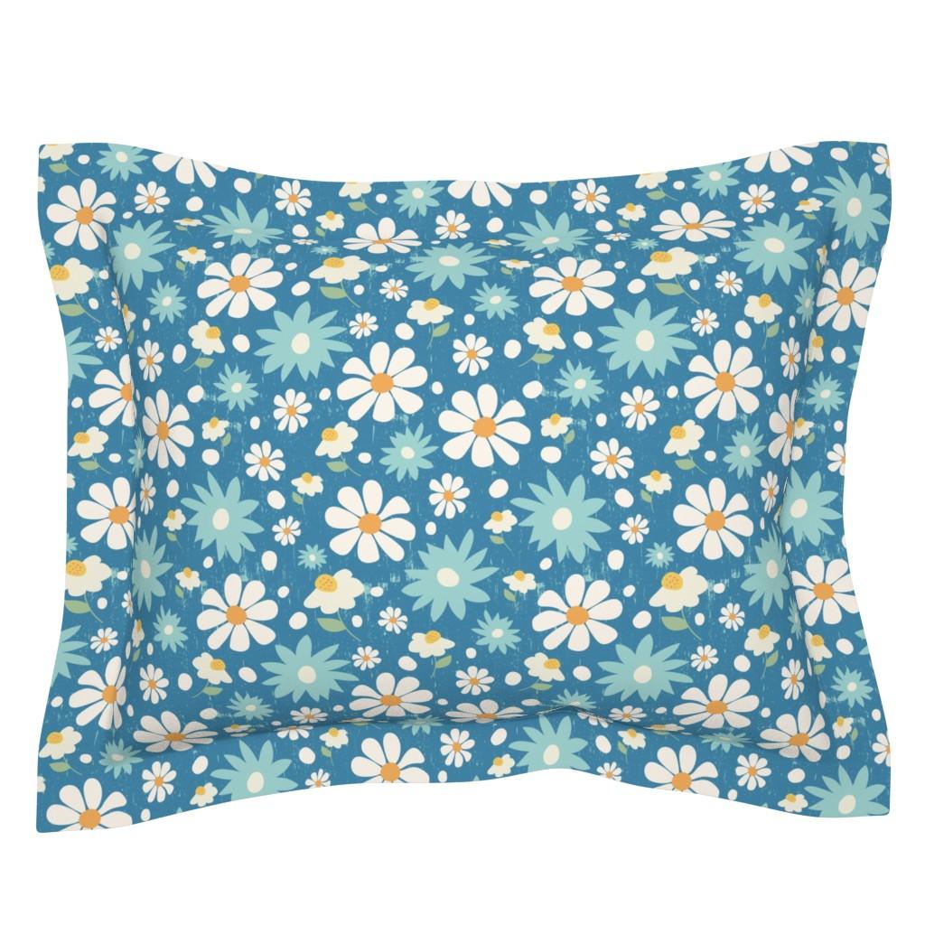 Sebright Pillow Sham featuring Golden Daisy Spring Teal Floral Garden Blast by studiojulieann