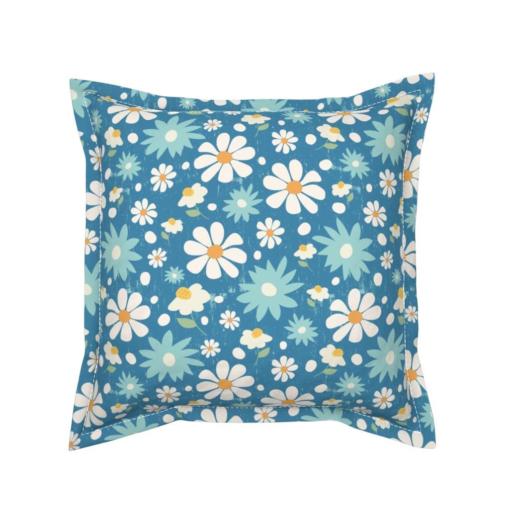 Serama Throw Pillow featuring Golden Daisy Spring Teal Floral Garden Blast by studiojulieann