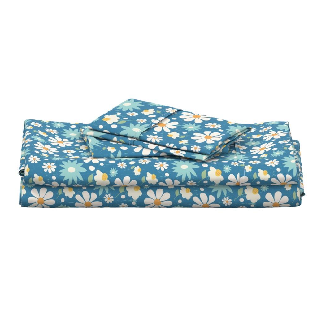 Langshan Full Bed Set featuring Golden Daisy Spring Teal Floral Garden Blast by studiojulieann